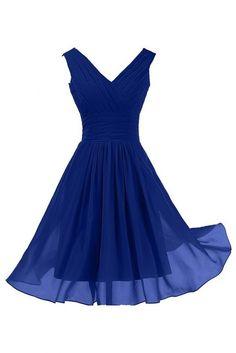 Sunvary Elegant V Neckline Chiffon Cocktail Party Dresses Bridesmaid Dresses Short - US Size 20W- Royal Blue