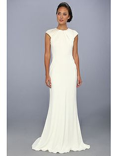 Badgley Mischka Art Deco Beaded Cap Sleeve Dress