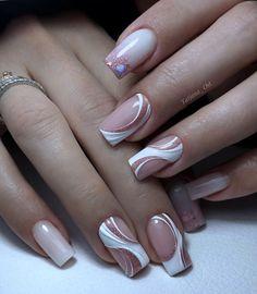 New Nail Art Design, Nail Art Designs, Hair And Nails, My Nails, French Manicure Nails, Gel Acrylic Nails, Chic Nails, Bridal Nails, Flower Nails