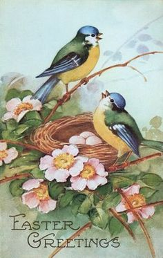 Free Vintage Clip Art - Darling Birds in Nest - The Graphics Fairy