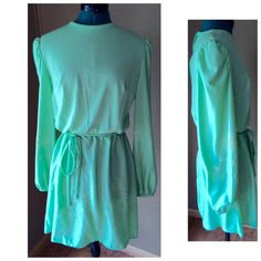 Vintage Mint Green Peasant Dress GORGEOUS dress from the 1960s - from Vicky Vaughn Junior.  Features a peasant style waistline with a tie belt.  Blouson sleeves.  Green floral embroidery on the sleeves and bottom hem, zips up the back.  This dress screams 60s/70s - but still is a timeless look! Condition: EUC - very amazing for a vintage piece.  No rips, stains, odors. Material: Tags missing, but feels to be 100% polyester Size: Tags missing - Measurements put it at a modern Medium. Pit to…