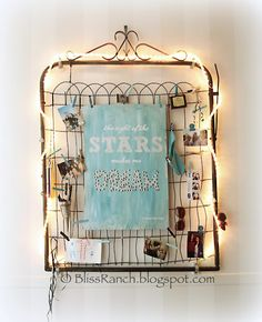 {Guest Post} Design Inspiration through Photos - Just Us Four. Gate with white lights. Painted canvas string art