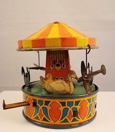 vintage tin toys | Vintage Wyandotte Tin Litho Toy Carousel Circa 1935 | Vintage Toys