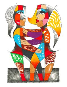 """CUBIST EMBRACE Charcoal pencil, oil and acrylic paint on watercolor paper. 14"""" x 19"""""""
