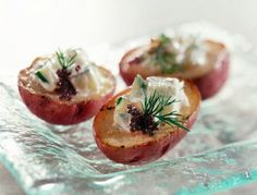 Baby Potatoes with Crème Fraîche and Caviar
