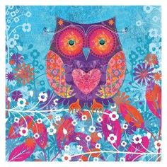 Blue Owl Heart Wall Art.