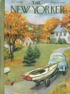 New Yorker cover Getz bringing sailboat home 10/11 1958