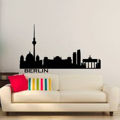 Berlin Skyline Wall Decal Cityscape City by FabWallDecals on Etsy
