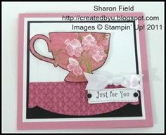Tea Shoppe UDI 71 challenge... adorning accents table cloth and 3-d tea cup http://createdbyu.blogspot.com/2012/01/favorite-tea-shoppe-card-udi71.html for details!