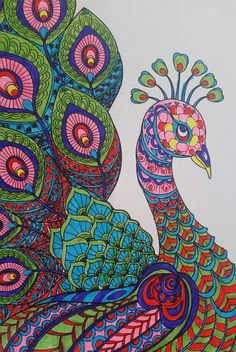 Creation Coloring Pages, Kite Designs, Peacock Art, Cool Art Drawings, Kites, Peacocks, Zentangle, Colorful, India