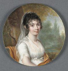 Pierre Louis Bouvier, Portrait of a Lady in a White Dress Seated in a Landscape, 1803