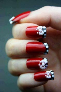 Red, Black, & White Nails