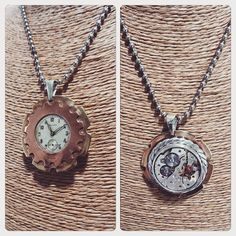Colgante de Plata, Cobre y Bronce con Reloj Suizo Mecánico con Rubíes / Silver, Copper and Bronze Neclace with Swiss Mechanical Watch with Rubies / #joyeria #hechura #hechoamano #colgante #reloj #suizo #rubies #handmade #jewelry #necklace #swiss #watch #steampunk / rodolfo@hechura.cl www.hechura.cl