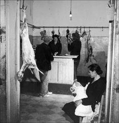 Italian Vintage Photographs ~ A butcher's shop in the Italian town of Melfi, circa 1955.