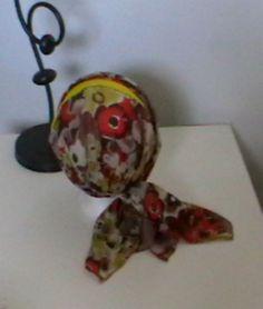 Turban préformé - Foulard cheveux - Bonnet - chapeau - bandeau chimio  fleuri marron jaune orangé enlacé de jersey jaune 4a90a0a91f0