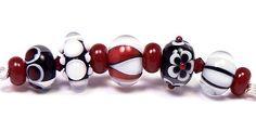 Beige, taupe, black, white - handmade lampwork glass beads by artist Kandice Seeber