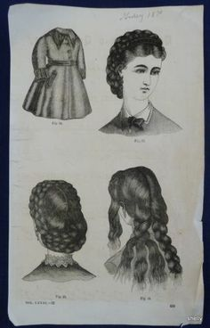 Godey Ladys Book Steel Plate Hairdos Braids Hair C 1870 Original Fashion Print | eBay