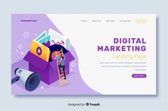 Isometric marketing landing page Free Vector Graphic Design Flyer, Flyer Design, App Design, Character Web, Simple Web Design, Web Inspiration, Website Layout, Software, Banner Design