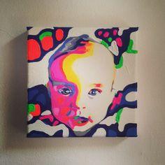 Kinderporträt nach Foto individuell dargestellt. ACRYL AUF LEINWAND.  www.mylittleportrait.com
