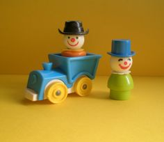 Vintage Fisher Price clowns with train, 3 piece set,original, collectible, Little People, vintage toys, made in U.S.A