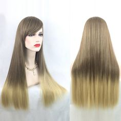 Adiors Long Straight Gradient Sided Bang Party Synthetic Wig - COLORMIX