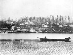 Qayqayt First Nation - New Westminster photographed in The native canoe in the foreground is offshore from the site of the village of Qayqayt. The Qayqayt First Nation Columbia City, British Columbia, Fraser River, Village Photos, Canadian History, River Bank, Historical Pictures, Vancouver Island, Pacific Northwest