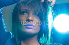 Pretty woman with blue backlight Cat Ears, My Images, Pretty Woman, In Ear Headphones, Adobe, Photography, Women, Pictures, Photograph