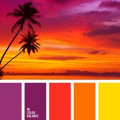 Color combination, color pallets, color palettes, color scheme, color inspiration. Beautiful shades of perfect evening. Pink, purple, yellow and other colors of sunset.