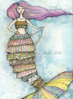 Bonnie the Pearlweeper Watercolor & Pencil #thedaydreamerie #mermaids