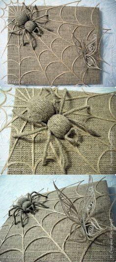 Close-up of twine spiders Burlap Crafts, Diy And Crafts, Burlap Ornaments, Stick Wall Art, Needle Felting Tutorials, Marker Art, Handmade Decorations, Sisal, Flower Crafts