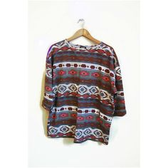 Vintage Tribal t-shirt cotone t shirt BOHO abbigliamento azteco navajo... ($17) ❤ liked on Polyvore featuring tops, t-shirts, vintage t shirts, loose tee, loose t shirt, tribal top and oversized tops