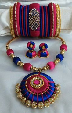 Buy silk thread bangles new design, silk thread necklace, silk thread earrings and jhumkas online. Customized Silk Thread jewellery set at best affordable prices for women's jewellery shopping online. Silk Thread Earrings Designs, Silk Thread Bangles Design, Silk Thread Necklace, Silk Bangles, Beaded Necklace Patterns, Bridal Bangles, Jewelry Design Earrings, Thread Jewellery, Fabric Jewelry
