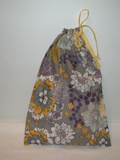 Medium Gray / Yellow / Purple Floral Print Wrapping Bag with yellow fabric drawstring by CrazyAuntBettyBags on Etsy