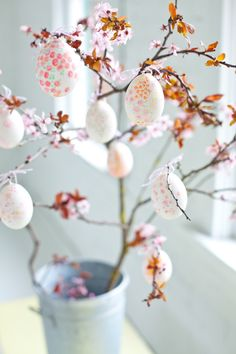 Painted Easter eggs hung from blossom branches