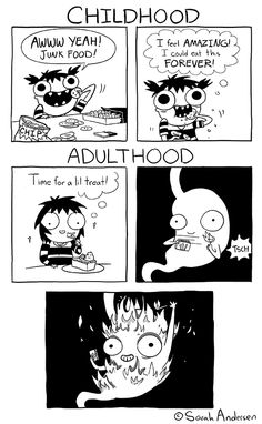 Tastefully Offensive on Tumblr, sarahseeandersen:   My stomach has been in hell...
