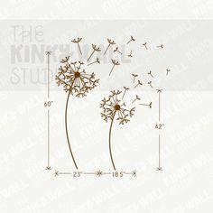 Dandelions Wall Decal Tree Flowers nature wall decals por KinkyWall