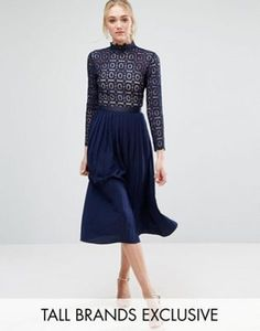 Little Mistress Tall | Little Mistress Tall Long Sleeve Lace Top Pleated Midi Dress