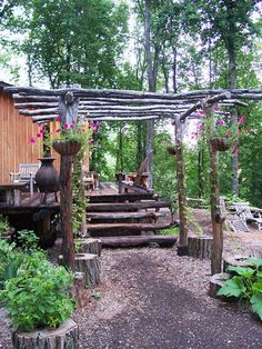 rustic-log-pergola | Best Pergola Ideas Garden Arbor, Garden Yard Ideas, Garden Trellis, Garden Projects, Rustic Pergola, Backyard Pergola, Backyard Landscaping, Modern Pergola, Black Pergola
