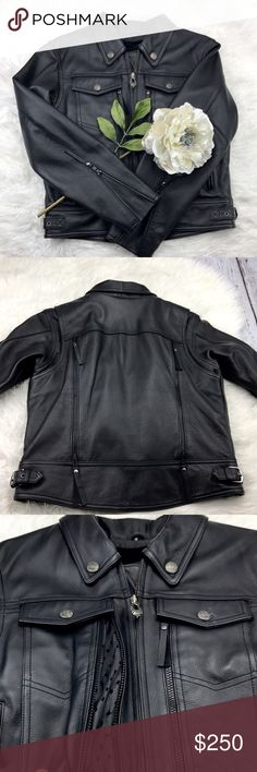 "💕SALE💕Authentic Harley Davidson Leather Jacket Fabulous NWOT High Quality Authentic Harley Davidson Leather Jacket. This Jacket has it all!! Zip out liner, zip open breathable vents, Key Holder Pockets and Storage galore 100% Leather 21"" from the top of the shoulder to the bottom 23"" Sleeve Length 20"" from armpit to armpit 17"" across the shoulders Harley-Davidson Jackets & Coats"
