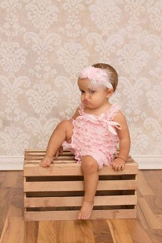 Pink Lace Romper - Baby Lace Romper - Girls Romper - Photo Props
