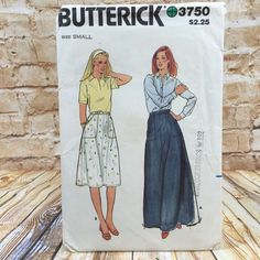 Vintage Butterick 3750 Womens Flared Midi Maxi Skirt w Pockets Sz Small Pattern #Butterick #Skirt