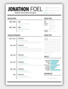 Creative Resume ~ Like the layout, Objective or About Me Section with large quotation mark |||| FREE RESUME TEMPLATE