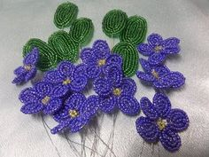 Flower Violet with beads. Weaving of a flower. Part 1 Beading Beaded Flowers Patterns, French Beaded Flowers, Angel Wing Earrings, Bead Jewellery, Beading Tutorials, Bead Art, Beaded Earrings, Seed Beads, Sewing Projects