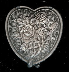 Vintage Pewter Heart Shaped Compact with Mirror, Art Nouveau Design with Roses, Basketweave Background