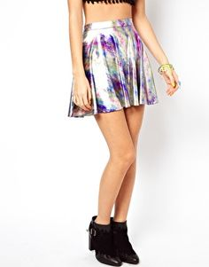 Image 4 of ASOS Skater Skirt in Foil Print