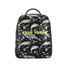 PiccoGrande`s Save the Ocean-Black-Blue-whales Popular Backpack (Model Popular Backpacks, Pouch Bag, Pouches, Mouth Mask Fashion, Mask Online, Blue Whale, Bff Gifts, Save The Planet, Mammals