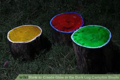 Create Glow in the Dark Log Campfire Stools