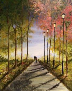 Central Park Walk - http://www.paintnite.com - #PaintNite #Art #NewYorkCity #Romance #Painting