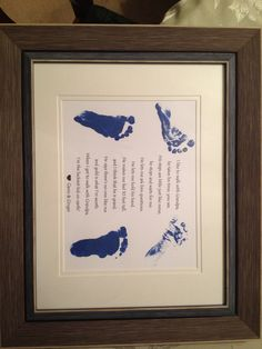 Baby footprint poem for my dad... Foot printing a baby is harder than I thought!