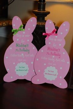 Easter Bunny Birthday Invitation or Easter by palmbeachpolkadots